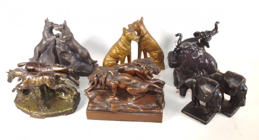 Bookend lot of 6 pair animals: 2-dogs, elephant, horse,
