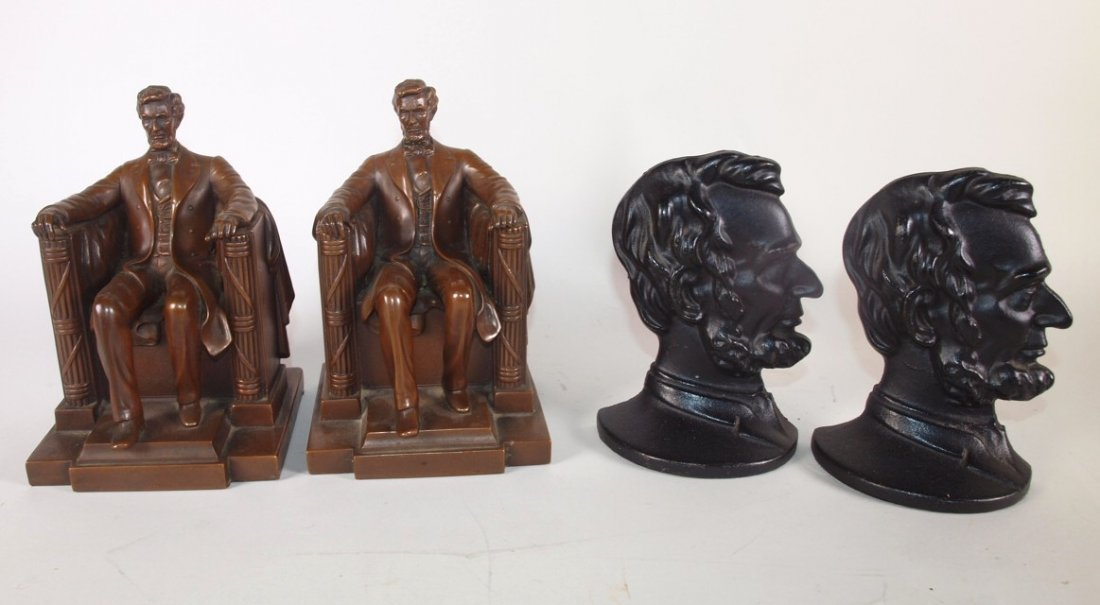 Abraham Lincoln lot of 2 pair of bookends