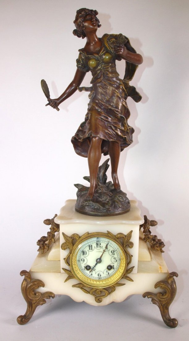 """French Statue and marble clock, 22"""""""