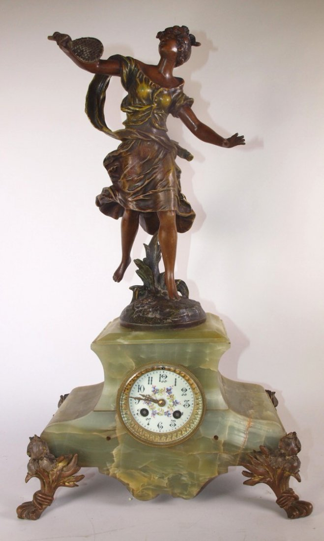 French statue and marble clock, some pieces missing