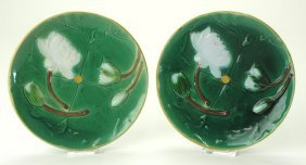 """Holdcroft majolica pair of water lily plates, 8 1/4"""""""