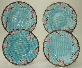 "Holdcroft majolica set of 4 dogwood plates 8 3/4"""