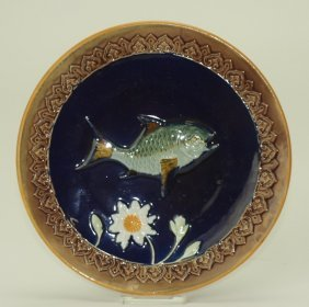 """Holdcroft cobalt fish and daisy plate, 8 1/4"""""""