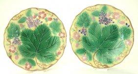 Wedgwood majolica pair of yellow grape leaf and