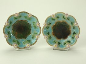 George Jones majolicla pair of strawberry dishes with