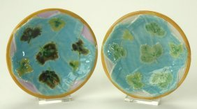 George Jones majolica pair of strawberry dishes with