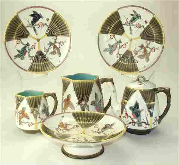 Wedgwood majolica 6 piece Argenta bird and fan set -