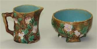 George Jones majolica rustic cream (handle repair) and