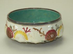 Wedgwood majolica Ocean pattern salad bowl with silver