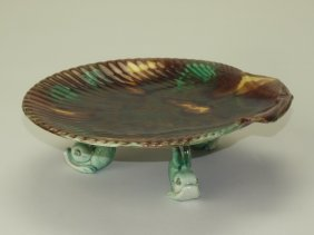 Wedgwood majolica shell compote with three dolphin