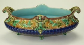 Sarrequemines majolica table center bowl with oak