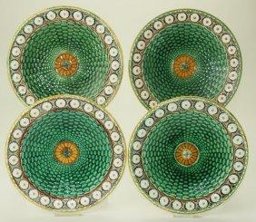 "Wedgwood majolica set of 4 Stanley plates, 8 3/4"""