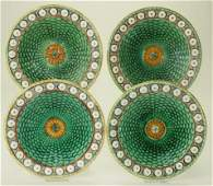 Wedgwood majolica set of 4 Stanley plates 8 34