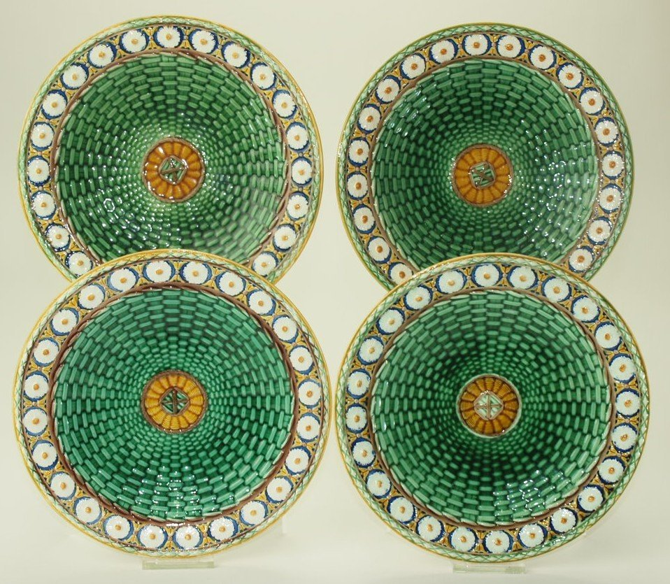 Wedgwood majolica set of 4 Stanley plates, 8 3/4""