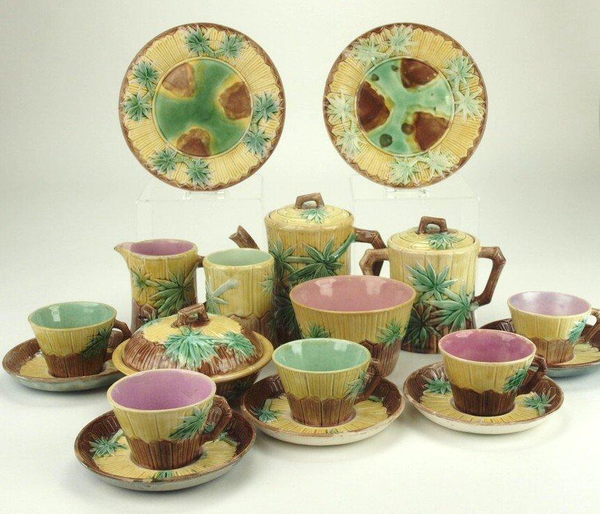 Etruscan majolica Bamboo set - teapot, sugar, creamer,