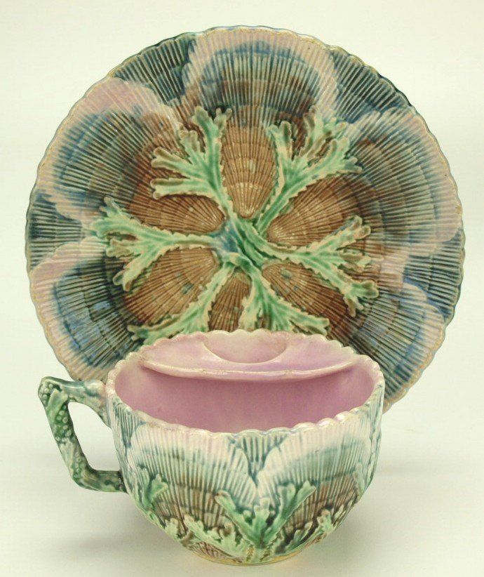 Etruscan majolica shell and seaweed mustache