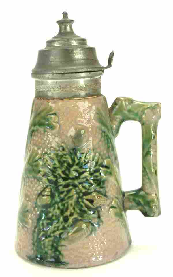 """Etruscan majolica coral and shell syrup pitcher, 6 1/2"""""""
