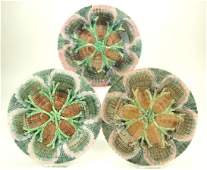 "Etruscan majolica set of 3-8"" shell and seaweed plates,"