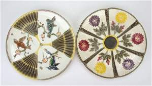 Wedgwood majolica lot of 2 plates  bird and fan and