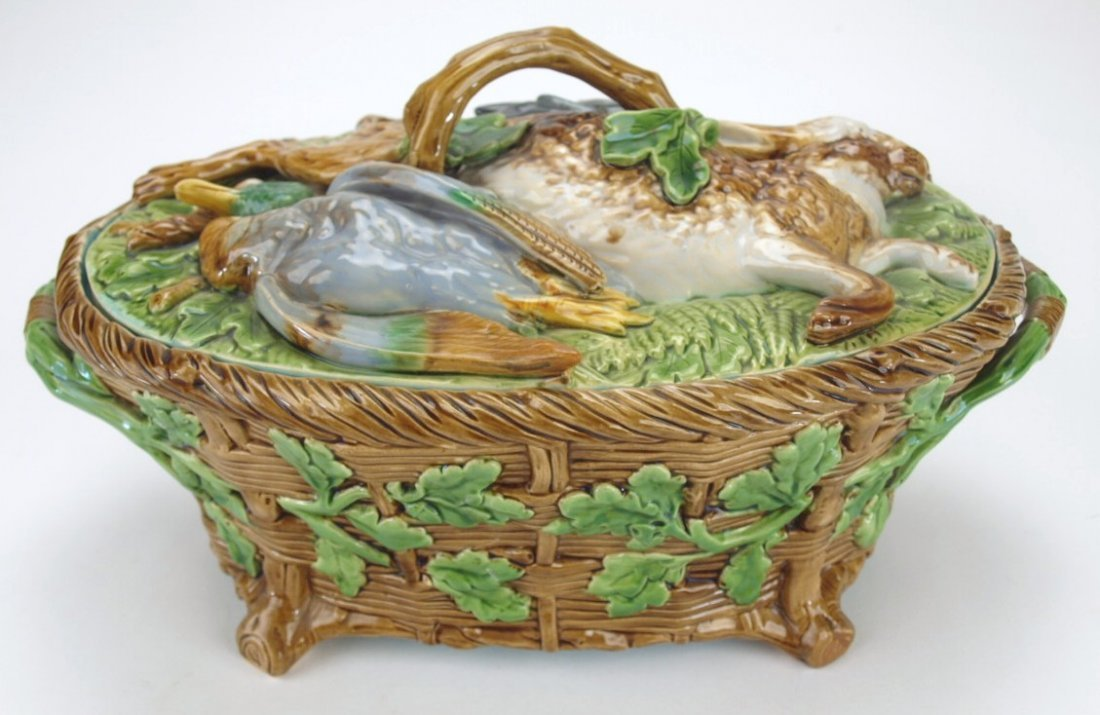 Minton majolica game dish with insert, rabbit and game
