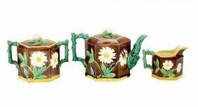 A Victoria Pottery Company Majolica Three Piece