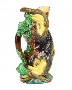 A William Brownfield andSons Majolica ' Swirling Fish'