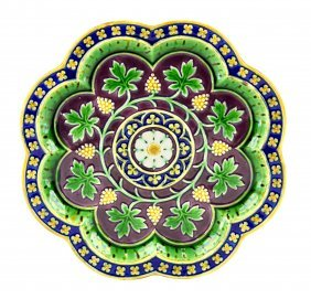 A Rare Minton Majolica Gothic Revival Plate c.1860 The