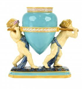 AMinton Majolica 'Lamp Holders'c.1875 Modeled two
