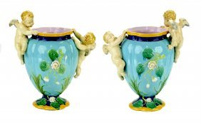 A Rare & Charming Pair of MintonMajolica Vases c.1870