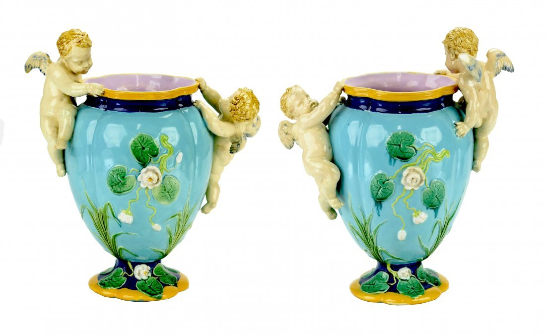 A Rare & Charming Pair of Minton Majolica Vases c.1870