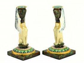 Pair of George Jones Majolica Egyptian Revival