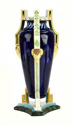 A Very Rare George Jones Majolica Neo Classical Vase