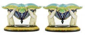 A Pair ofGeorge Jones Majolica Egyptian Revival Mantle