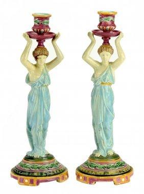 An Elegant Pair of George Jones Majolica 'Caryatid'