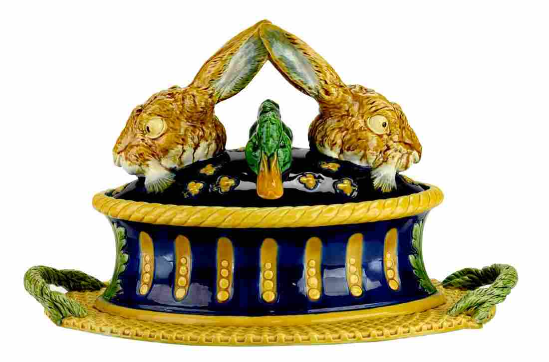 A wonderful and iconic Minton Majolica game tureen and