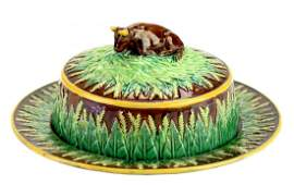 A Rare George Jones Majolica Butter Dish and Stand