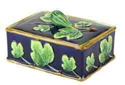 A Very Rare George Jones Majolica Box and Cover c.1875
