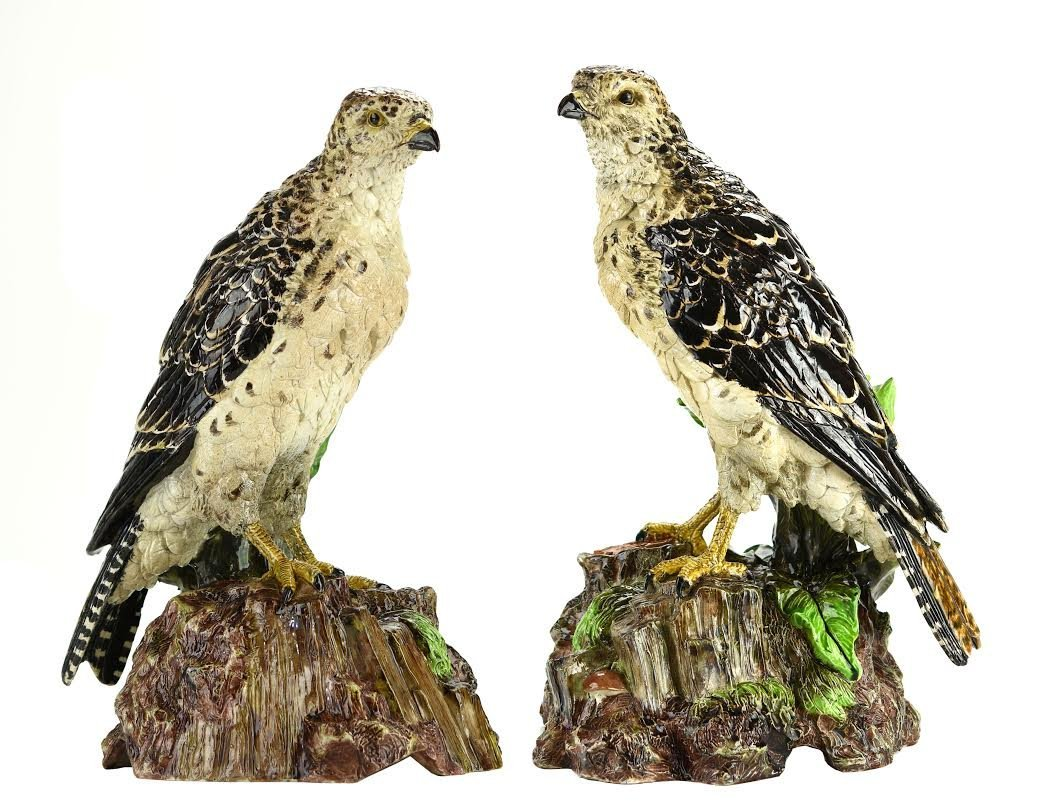 A Very Rare and Magnificent Pair of Hugo Lonitz Falcons