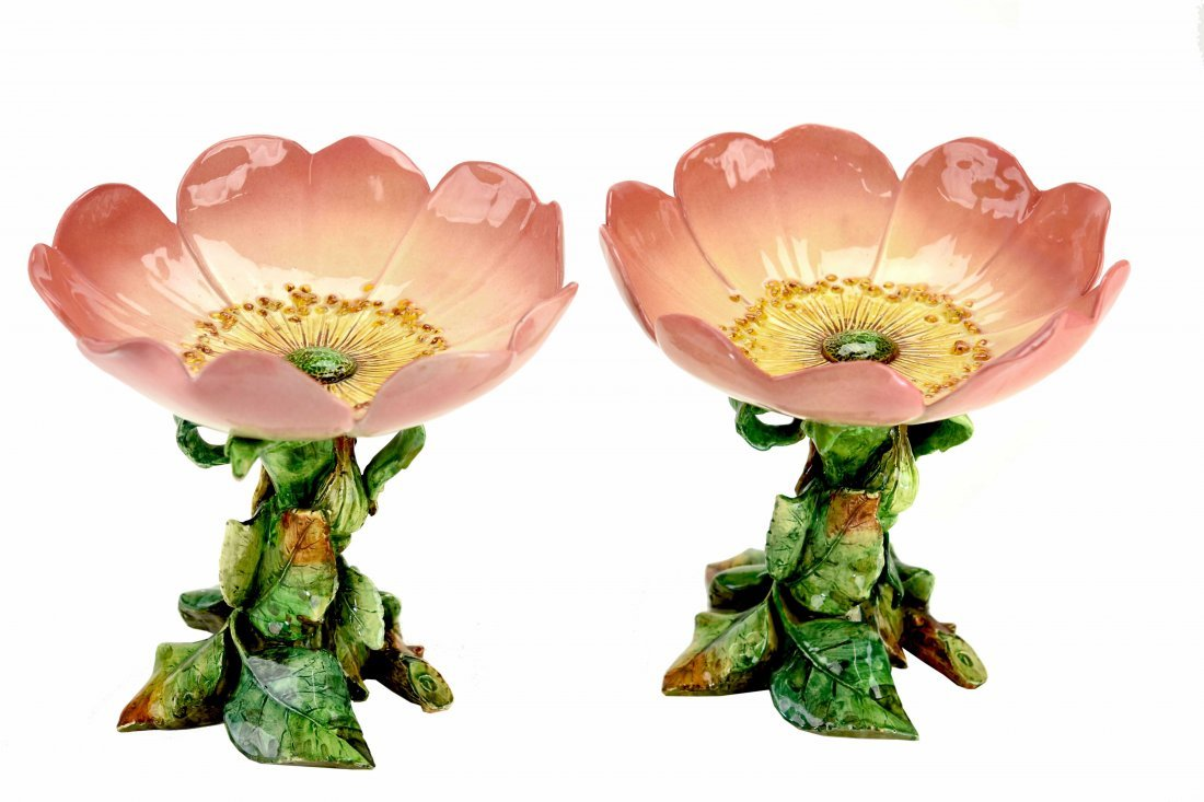 A Pair of Delphin Massier Pansy Compotes c.1880 Signed