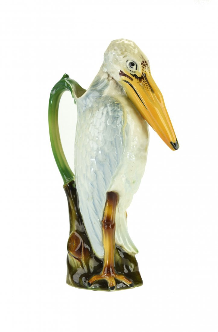 A Saint Clement Majolica Stork Pitcher c.1900 Modeled
