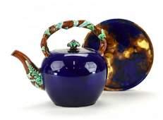 A Wedgwood Majolica 'Rustic' Tea Kettle and Trivet