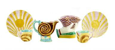 Four English  Majolica Items decorated with Shell