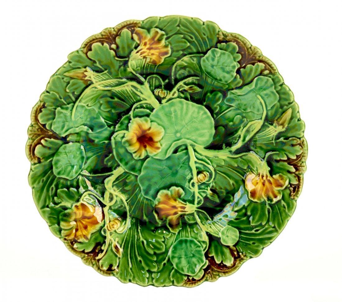 A Very Desirable Minton Majolica Geranium Dessert Plate