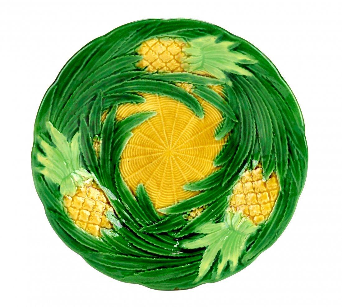 A George Jones Majolica Pineapple Dessert Plate c.1870