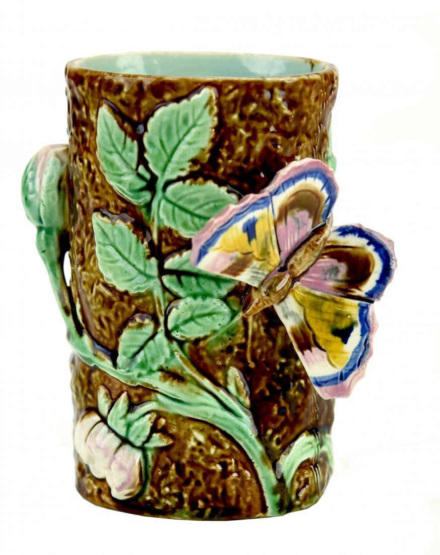 A Rare Majolica Butterfly Posy Vase c.1875 After a