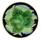 A Very Rare George Jones Majolica Cobalt Chestnut Leaf