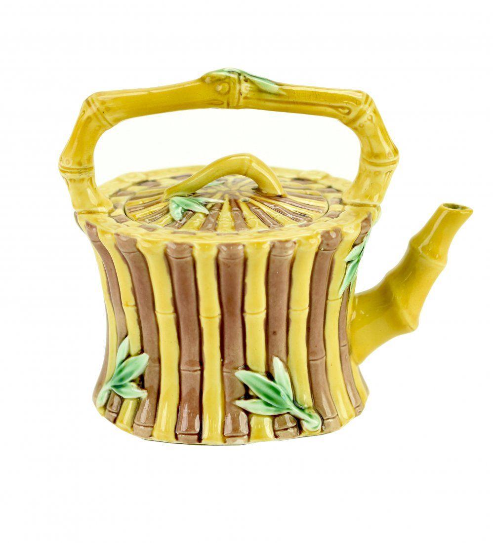 A Wedgwood Majolica Bamboo Tea Kettle c.1865 The