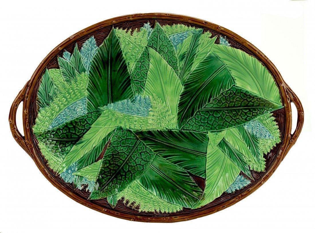 A Striking George Jones Majolica Leafage Tray c.1875