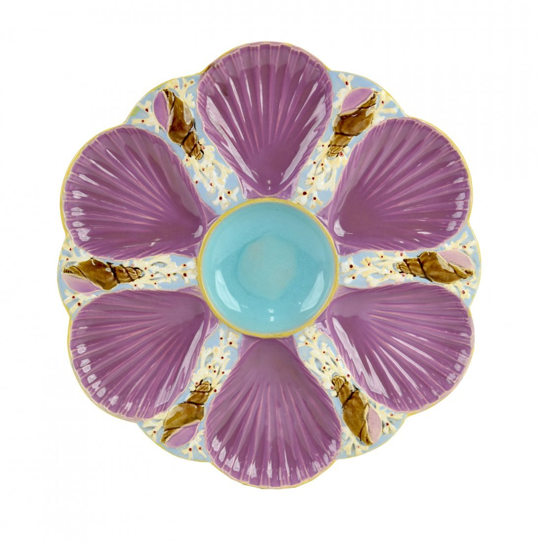 A Holdcroft Majolica 6 well oyster plate c.1875