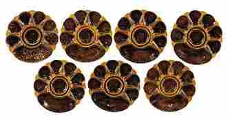 Seven Minton Majolica Mottled Seven Well Oyster plates